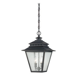 Quoizel - Quoizel CAN1911WB Carson Transitional Outdoor Hanging Light - The Carson outdoor collection is a classic design that will maintain its beauty for many years.  The design features clear seedy glass that diffuses the light with an ethereal, dreamlike effect and the weathered bronze finish completes the look.