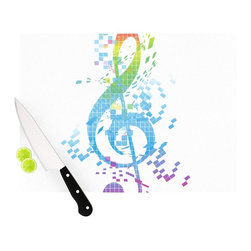 """Kess InHouse - Frederic Levy-Hadida """"Rainbow Key"""" Multicolor Music Cutting Board (11"""" x 7.5"""") - These sturdy tempered glass cutting boards will make everything you chop look like a Dutch painting. Perfect the art of cooking with your KESS InHouse unique art cutting board. Go for patterns or painted, either way this non-skid, dishwasher safe cutting board is perfect for preparing any artistic dinner or serving. Cut, chop, serve or frame, all of these unique cutting boards are gorgeous."""
