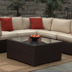 Outdoor Wicker Sectional - Sunbrella - Wicker Paradise