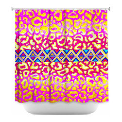 DiaNoche Designs - Shower Curtain Artistic - Leopard Trail Pink - DiaNoche Designs works with artists from around the world to bring unique, artistic products to decorate all aspects of your home.  Our designer Shower Curtains will be the talk of every guest to visit your bathroom!  Our Shower Curtains have Sewn reinforced holes for curtain rings, Shower Curtain Rings Not Included.  Dye Sublimation printing adheres the ink to the material for long life and durability. Machine Wash upon arrival for maximum softness. Made in USA.  Shower Curtain Rings Not Included.
