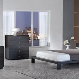 KYOTO MODERN PLATFORM GRAY BEDROOM SET - This modern bed comes with leather pillows in your choice of white or red. Set includes bed and two nightstands.