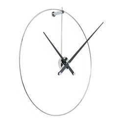 Nomon - New Anda Black Wall Clock - New Anda Black Wall Clock in Steel Lacquered Walnut, Made in Spain