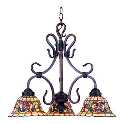 Elk Lighting - Elk Lighting Tiffany Buckingham Traditional Tiffany Chandelier X-AV-363 - Add the glamour and ambiance of the old world with the Buckingham traditional Tiffany chandelier. The stunning stained glass shade is in a bell shape and it has artful geometry and a bright shine that looks outstanding in your bathroom, dining room, hall, or restaurant. The finish is made to last and is sure to please.