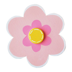 """Little Elephant Company - Spring Bouquet Daisy Quilt Clips set of 3 - Beautiful quilt clips that transform your treasured baby quilts and comforters into charming hanging artwork for your child's room.    Very easy to use.  ***    This listing is a set of  three (3) 6 petal daisy quilt clips. Each daisy is pale pink with bubblegum pink and white accents and a dark yellow center with white accents.    These quilt clips are perfect for flower and garden themed bedding sets.    Each 6 petal daisy measures 3.5 in.    How many quilt clips do I need?  - For a quilt that is still stiff and new, you will only need 2 quilt clips for up to 36 inches wide. Many people will do 3 quilt clips just for the look, though. For a quilt that has been washed and is pliable, 2 clips will be sufficient for up to 36 inches, but you may want 3 clips to help keep the center from sagging. For a quilt 36 to 42 inches wide, use 3 to 4 clips. For a quilt 42 to 50 inches, use 4 to 5 clips.    How do the quilt clips work?  - The only hardware is needed is a long nail, approximately 1 1/2"""" to 2 1/2"""" in length.  - Measure how far apart you would like the clips to be.  - Decide how high on the wall they will be placed and mark your first spot. Using a level, measure out and mark the second spot.  - Place your nails into the wall at a 45 degree angle. IMPORTANT: If your nail is not at a 45 degree angle, the clip may slip off the nail.  - Clip the quilt and slide the back of the clip over the nail.    What are the clips made of?  - Designs are made of layered wood. A few of our designs also have layered felt.   - Clips on the back are a sturdy plastic so as not to damage your fabric."""
