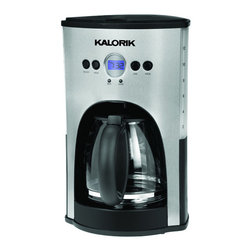 Kalorik - Refurbished Kalorik Stainless Steel/Black Programmable 12 Cup Coffee Maker - This gorgeous 12-cup stainless steel coffee maker has not only a programmable clock/timer but also a 2-hour shutoff system that will turn the coffee maker off in case you forget.
