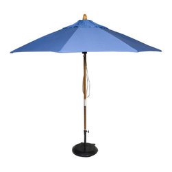 Phat Tommy - Market Patio Umbrella in Capri - The Phat Tommy 9 Foot Marenti Wood Market Umbrella is part of the Outdoor Oasis Line. Sunbrella fabric is more naturally fade resistant under prolonged sun exposure, so your shade solution stays beautiful for years of use and enjoyment.