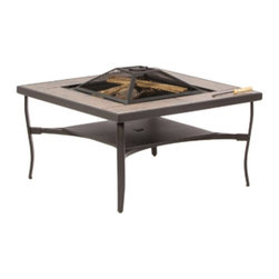 Alfresco Home LLC - Alfresco Home Canyon Square Wood Burning Fire Pit Table Multicolor - 52-1302 - Shop for Fire Pits and Fireplaces from Hayneedle.com! Sure campfires are a lot of fun although they tend to require a bit of hiking before someone will let you start one; but with Alfresco Home Canyon Square Wood Burning Fire Pit Table you need hike no farther than your own backyard. This handsome square table has a strong and sturdy steel frame with a deep rich brown powder-coated finish that will fit any backyard decor. The table top is framed with light brown tiles that provide a rustic appearance alongside the brown steel frame. In the middle of the table is a square fire pit perfect for small wood-burning fires that light up your nighttime conversations with a warm ambiance. And while you're roasting marshmallows over the fire the tile ledge gives you a great spot to set some graham crackers and warm some chocolate or maybe even your toes. The lower shelf gives extra stability to the elegantly curved legs and a place to stash personal items when the fire bowl is not in use. A spark screen is also included with this piece adding an attractive cover that helps protect loungers from stray sparks; its handy ring and lifting hook allow you to safely tend to the fire without burning your fingers.About Alfresco HomeOffering a wide selection of fashionable products from casual furniture and garden lighting to permanent botanicals and seasonal decor Alfresco Home casual living products offer a complete line of interior and exterior living furnishings and accents. Based out of King of Prussia Penn. Alfresco Home continues to blend indoor and outdoor furniture to create a lifestyle of alfresco living inside and outside of the home. Inlaid mosaic tabletops fine hardwood furnishings artisan-inspired accents premium silk botanicals and all-weather wicker sets are just a few examples of the kind of treasures you'll find in Alfresco's specially designed collections.