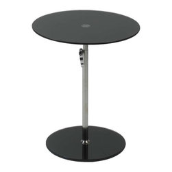 Eurostyle - Eurostyle Radinka Side Table in Black Printed Glass/ Stainless Steel - Side Table in Black Printed Glass/ Stainless Steel belongs to Radinka Collection by Eurostyle Radinka tabletops and bases are strong, tempered glass. The bases and tops come in matching colors from virtually clear to a rainbow of translucent shades. Side Table (1)