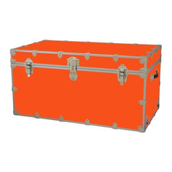Rhino - Toy Trunk - Orange (Jumbo) - Choose Size: JumboWheels are not included. Includes two nickel plated steel universal wheel adapter plates. Wheel adapter plates mounted on side of the trunk. American craftsmanship. Several obscure ventilation holes to provide plenty of air should your child ever go into the trunk and have someone close it on them. Strong hand-crafted construction using both old world trunk making skills and advanced aviation rivet technology. Steel aircraft rivets are used to ensure durability. Heavy duty proprietary nickel plated steel latches and hardware. Heavy duty nickel plated steel lid hinges plus lid stays for keeping lid propped open. Tight fitting steel tongue and groove lid to base closure to keep out moisture, dirt, insects, odors etc.. Stylish lockable nickel plated steel trunk lock has loop for attaching padlock. Discrete ventilation holes. Special soft-close lid stay. Nylon cordura exterior laminate. Lifetime warranty. Made from 0.38 in. premium grade baltic birch hardwood plywood with nickel-plated steel hardware. Large: 32 in. W x 18 in. D x 14 in. H (29 lbs.). Extra large: 36 in. W x 18 in. D x 18 in. H (36 lbs.). Jumbo: 40 in. W x 22 in. D x 20 in. H (67 lbs.). Super jumbo: 44 in. W x 24 in. D x 22 in. H (69 lbs.)Safety First! A superior quality, heavy-duty toy trunk that¢s designed for a child¢s well-being, yet looks handsome in any room. Toy Trunk is constructed from the highest quality components. This treasure chest incorporates several safety features to insure that it¢s child friendly. Those include small ventilation holes should a child ever decide to climb in and take a nap, as well as specially designed, American made soft-close lid stays. The lid stays keep the lid from slamming shut. In fact, the lid will only close if you push it down. This will keep small hands protected. Also, the toy trunk will not lock on its own. Toy Trunk are conveniently sized and ruggedly built. They¢re strong enough to stand on! Best of all, these advanced design wheels do not add any extra height to the trunk. Even with the wheels on, the trunk is stackable.