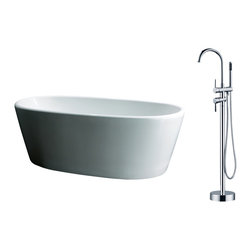 "AKDY - AKDY 67"" AK-ZF248+8711 Euro Style White Acrylic Free Standing Bathtub w/ Faucet - AKDY free standing acrylic bathtubs come in many styles, shapes, and designs. The acrylic material used for tubs is very durable, light weight, and can be molded into a variety of shapes and styles which explain the large selection available in this product category. Acrylic free standing tubs are a cost efficient way to give your bathroom a unique beautiful touch. A bathtub is no longer just a piece of cast iron metal thrown into a bathroom by a builder."