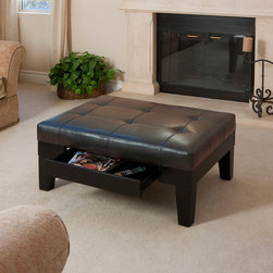 Tucson Leather Storage Ottoman Coffee Table - Tucson Leather Storage Ottoman Coffee Table is a great way to help you organize your living room in a classic, tasteful fashion. At first glance, this appears to be similar to many other ottomans...however, the ottoman hides a unique secret. It offers internal storage space, like many ottomans, with the exception that it features a drawer instead of a lifting lid.