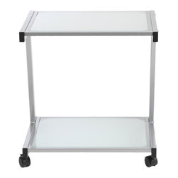 Eurostyle - L Printer Cart-Aluminum/Frosted - Give your printer the home it deserves, while freeing up space on your desk. This handy cart features a top surface to hold the printer and a bottom shelf to store paper, ink cartridges and other related accessories.