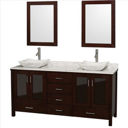 "Wyndham Collection - Wyndham Lucy Vanity 72"" Espresso - The Lucy Double Bathroom Vanity by Wyndham Collection is as beautiful as it is functional. The modern design puts a visual emphasis on clean lines, luxurious natural marble, abundant storage for two, and is at home in almost every bathroom decor."