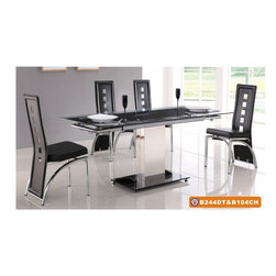 """American Eagle Furniture - 244DT & 104CH Black Glass Top Table & Black Vinyl Chairs 5 Piece Dining Set - The 244DT & 104CH dining set is a great addition for any dining room that needs a touch modern design. The dining table has a glass table top with black printed strip down the middle. The table comes in a standard 49"""" length but can be extended up to 71"""" for larger gatherings. The frame of the table features polished stainless steel single column design with a matching polished square steel base. The chairs come upholstered in a stunning black vinyl material with high density foam placed within the cushion for added comfort. The chairs have a unique open square design on the back that adds to the overall look. The frame of the chairs are crafted from polished stainless steel with the backrests extending down to the legs. The dining set consist of a dining table and four chairs only."""