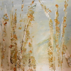 """""""Poplars, Painting"""" - """"Textural and beautiful, poplar trunks are suggested on a simple ethereal background on 20 x 14 watercolor paper.  Colors reflect nature in soft muted colors, touches of golden orange and thick luscious white paint. Ready to mat and frame."""""""