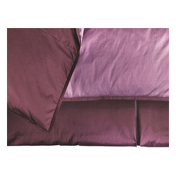 """Mystic Valley - Mystic Valley Traders Profiles Silk Plum - Bed Skirt, Twin - The Profiles Silk Plum bed skirt is fashioned from the Plum fabric; it is lined and tailored with an inverted foot pleat and double-inverted side pleats and Lilac pleat inserts, featuring a bottom blue grosgrain accent, with a 16"""" drop."""