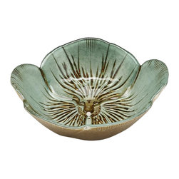 belle & June - Pansy Bowl Turquoise Gold-Set of 4 - Dimensions:  6""