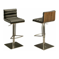 Pastel Furniture - Pastel Dubai Hydraulic Barstool - Stainless Steel with Walnut Back - PU Black - This beautifully made contemporary hydraulic Stainless steel barstool has a simple yet elegant design that is perfect for any decor. An ideal way to add a touch of modern flair to any dining or entertaining area in your home. This barstool features a veneer wood back that comes in either black, white or walnut. It also has a quality Stainless steel frame with sturdy legs and foot rest finished. The padded seat is upholstered in either PU ivory or PU black offering comfort and style.