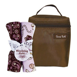 "Trend Lab - Bouquet Set - Rodeo Princess - Bottle Bag & Burp Cloth - Trend Lab's Rodeo Princess Bottle Bag and Burp Cloth Set is the perfect gift for any mom to be! Set includes a solid brown insulated bottle bag and four burp cloths each with fun, modern printed cotton on the front and terry on the back. Zippered closure on the bottle bag allows temperature control keeping bottles and snacks hot or cold. Durable nylon fabric easily wipes clean. Bottle bag can hold 2 standard bottles. Burp cloth patterns include: one cowgirl themed scatter print in chocolate, maple, cream and violet with touches of dreamsicle orange and caramel on a soft orchid background, one chocolate bandana print with violet and maple accents, one plaid print in chocolate, sand and cream on a soft orchid background and one vine print in pewter and white. Bottle bag measures 5"" x 7"" x 3"" and each burp cloth measures 13"" x 10""."