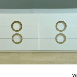 None - Moden High-gloss Double Dresser - Modern details are showcased in this high gloss dresser. Full extension drawer hardware and stainless steel handles highlight this sleek set.