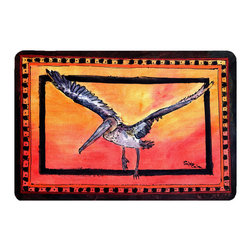 Caroline's Treasures - Bird - Pelican Kitchen Or Bath Mat 20X30 - Kitchen or Bath COMFORT FLOOR MAT This mat is 20 inch by 30 inch.  Comfort Mat / Carpet / Rug that is Made and Printed in the USA. A foam cushion is attached to the bottom of the mat for comfort when standing. The mat has been permenantly dyed for moderate traffic. Durable and fade resistant. The back of the mat is rubber backed to keep the mat from slipping on a smooth floor. Use pressure and water from garden hose or power washer to clean the mat.  Vacuuming only with the hard wood floor setting, as to not pull up the knap of the felt.   Avoid soap or cleaner that produces suds when cleaning.  It will be difficult to get the suds out of the mat.