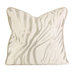 Imax - IK Bahari Taupe Embroidered Linen Pillow with Down Fill Linen Decor - IK Bahari taupe embroidered linen pillow with down fill linen decor Imax 42165