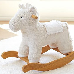 Nursery Horse Rocker - Perfect for a first year birthday, or as a beautiful addition to a nursery, this rocker will add a classic touch to Baby's life. A nod at classic wooden rockers, this padded pony is safe and soft. And oh so sweet.
