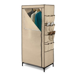 "27In Storage Closet With Shoe Organizer - Honey-Can-Do WRD-01270 27"" Wide Portable Cloth Storage Wardrobe, Khaki/Brown Trim. A great choice in economy storage closets, this handy wardrobe measures 27-inches wide and works great for extra hanging space or seasonal storage. The sturdy steel hanging rod will hold all of your dresses, shirts, pants and other items giving you an excuse to shop for more!  The breathable, lightweight fabric completely surrounds your garments, protecting them from dust and damage, and offers the convenience of a zippered, full length door for easy access. Integrated 12-pocket exterior storage is perfect for sandals and accessories. Some assembly required."