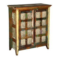 Sierra Living Concepts - Distressed Reclaimed Wood 2 Door Print Block Storage Cabinet - Squares of weathered white and strips of painted wood combine to create our Distressed Reclaimed Wood 2 Door Print Block Storage Cabinet.