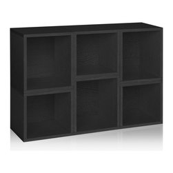 Way Basics - Stackable Arlington Modular Storage, Black - The Arlington Modular Organizer is a configuration of our Cubes and Cubes Plus. Perfect as a statement piece, storage cubby, or kid's playroom storage solution, the Arlington will help you and your family stay organized!