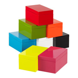 Medium Lacquered Rectangular Box - Interject a pop of color and keep office supplies organized with these chic lacquered boxes.