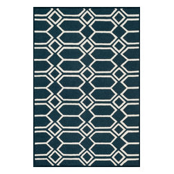 "Loloi Rugs - Loloi Rugs Celine Collection - Navy / Ivory, 2'-3"" x 7'-6"" - Combining sophisticated tonal colors with geometric patterns, the Celine Collection is a great option for modern interiors. The collection is hand hooked in India of 100% wool, with high pile defining the pattern and adding texture. Available in a variety of sizes to suit any room.�"