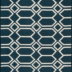 "Loloi Rugs - Loloi Rugs Celine Collection - Navy / Ivory, 9'-3"" x 13' - Combining sophisticated tonal colors with geometric patterns, the Celine Collection is a great option for modern interiors. The collection is hand hooked in India of 100% wool, with high pile defining the pattern and adding texture. Available in a variety of sizes to suit any room.�"
