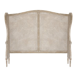 Kathy Kuo Home - French Country White Wash Wing Back Caned Headboard- King - French Country style is rooted in authenticity, traditional craftsmanship and natural informality, which is why rattan works so beautifully into the trademark pieces and materials.  This rattan and limed wood headboard is a classic example, perfect for any French Country style bedroom. With such a neutral and elegant backdrop, just about any choice of linens or color story will match beautifully.