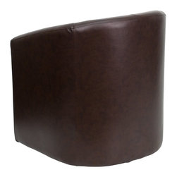 Flash Furniture - Flash Furniture Accent Chair X-GG-LLUF-NB-30-S-OG - The Perfect Reception, Side, Meeting, Or Lounge Chair. This Brown Leather Contemporary Reception chair features a full panel design, soft brown leather, and a well padded seat and back. Suitable for any office reception area or for use as a side chair by your desk, you can be assured that this chair will provide a nice contemporary look to match your decor. [GO-S-03-BN-FULL-GG]