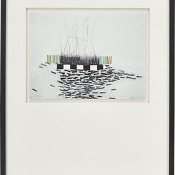 Stacks 12 Print - This intriguing drawing is part of series Julie S. Graham created in response to the view outside her studio. Maintaining a studio in an industrial area of Boston, Graham became fascinated with the contrast between the organic forms found in nature and the geometric order of the manmade environment. In her delicately sketched and subtly colored drawing, she juxtaposes orderly stacks of upright rectangles and squares rectangles with a spindly stretch of fine lines, grass-like hatchings and a spill of horizontal bands. Each gicl�e reproduction of the original is presented in a double white mat and framed in a clean matte black wood frame.