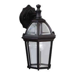 "KICHLER - KICHLER 9250BK Trenton Traditional Outdoor Wall Sconce - Utilizing classic design elements from colonial America, the Trenton Collection offers timeless design for today's aesthetic. Our striking Black finish helps recreate the look and feel of fixtures formed by blacksmiths hundreds of years ago. Skilled artisans re-create these handcrafted works of art from high quality cast aluminum with clear beveled glass panels to ensure the Trenton will last for years. If you're looking for a memorable fixture, this wall lantern is the perfect way to update your home's profile. Its one light design employs a 100-watt (max.) bulb for optimum lighting while the 14"" high lantern is U.L. listed for wet locations."