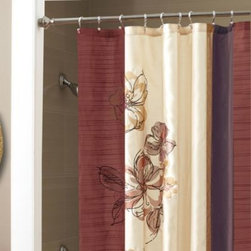 Croscill - Croscill Portantina 72-Inch x 72-Inch Shower Curtain - In neutral tones of deep red, chocolate, purple and tan, this elegant curtain has pieced vertical colorblocks and a hand-drawn floral pattern.