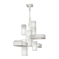 Fine Art Lamps - Black + White Story Chandelier, 732040-5GU - Suspend this extraordinary fixture to fill your home with light. A satin lacquer finish teams with hand-tailored laminated crepe shades to make a clean, pristine and powerful statement.