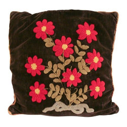 """Used Antique Crewel Work Velvet Pillow - Note from the Seller: """"We love pillows at Reposed NY and most of what we sell are handmade by us out of vintage fabrics. Sometimes we sell old vintage pillows too.  This is one of them.""""    Antique black velvet pillow with hand done crewel. Back side of pillow is a patchwork of burgundy velvet and damask. This pillow is not made by Reposed NY. This is a vintage and antique pillow. 16"""" square. Old down filler. Minor surface wear to fabric from age."""