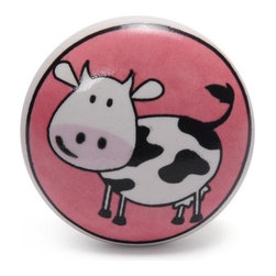 """Knobco - Ceramic Knob, Black And White Cow With Pink - Black and White Cow with Pink color Ceramic Knob, perfect for your kitchen and bathroom cabinets! The knob is 1.5"""" in diameter and includes screws for installation."""