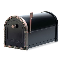Architectural Mailboxes - Coronado Post Mount Mailbox Black with Antique Copper Accents - Priority post: If you're looking for a durable and unusually stylish mailbox, this one delivers. It's created of heavy galvanized steel for strength and has solid brass accents for a distinctive look.