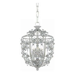Crystorama - Crystorama Abbie Outdoor Chain Hung Lighting Fixture in Antique White - Shown in picture: Abbie Collection Hand Cut Crystal Mini Lantern; The Abbie Collection offers casual yet elegant - whimsical and chic chandeliers - wall sconces - ceiling mounts inspired by the delightful mix of old and new found at a Paris flea market. The open lantern style wrought iron frame is accented with hand cut crystal and is finished in Antique White. Perfect for an entry hall or a covered porch area - this lantern style pendant chandelier is a light-hearted and vivacious accent piece.