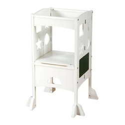 Guidecraft Kitchen Helper Step Stool - White - Include your child in meal prep with the Guidecraft Kitchen Helper Step Stool - White. This adjustable stool safely elevates your child to counter-top height. It also features fun cut-out designs, a wipe-off marker board, and chalkboard. Safely supports up to 125 pounds.About GuidecraftGuidecraft was founded in 1964 in a small woodshop, producing 10 items. Today, Guidecraft's line includes over 160 educational toys and furnishings. The company's size has changed, but their mission remains the same; stay true to the tradition of smart, beautifully crafted wood products, which allow children's minds and imaginations room to truly wonder and grow.Guidecraft plans to continue far into the future with what they do best, while always giving their loyal customers what they have come to expect: expert quality, excellent service, and an ever-growing collection of creativity-inspiring products for children.