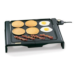 """Presto - Foldaway Griddle 14""""x15"""" - Generous 14"""" x 15"""" grilling surface. Efficient 'square' shape holds more eggs, pancakes, and sandwiches than conventional rectangular griddles. Cool-touch base on the front and both sides. Control Master heat control automatically maintains the proper cooking temperature."""