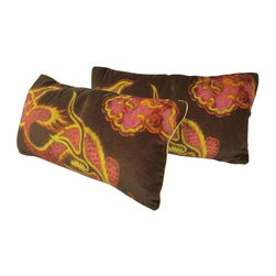 Pre-owned Dragon Print Velvet Pillows - A Pair - We adore the Chinoiserie print of these velvet lumbar pillows. Custom made from designer fabric with silk piping and a solid velvet back, these two dragons will surely spice up your living area. The covers are removable. Down inserts included.