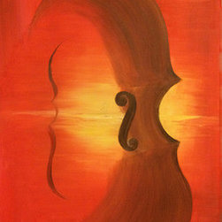 Sunset Music (Original) by Lyn Sayah - My father was a professional Cello player so in creating this painting, I wanted to represent his passion while giving it my own touch which is the love for the outdoors.