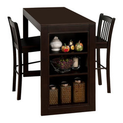Jofran - Jofran 810-48 Maryland 3 Piece Counter Height Table Set in Merlot - This space saving collection will be the perfect fit for you. The counter height table with ample side storage will add a lot of style and functionality to any small space.