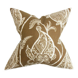 """The Pillow Collection - Fenella Floral Pillow Brown White 18"""" x 18"""" - Bring a romantic touch to your living space with this beautiful toss pillow. The pillow's rich and warm hue lends an old-world charm to your interiors. An oversize white-hued floral pattern pops against a brown background. This 18"""" pillow is made of 95% cotton and 5% linen fabric. Coordinate perfectly with solids and other patterns. Hidden zipper closure for easy cover removal.  Knife edge finish on all four sides.  Reversible pillow with the same fabric on the back side.  Spot cleaning suggested."""