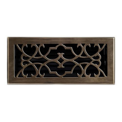"""Brass Elegans 120D AB Brass Decorative Floor Register Vent Cover - Victorian Scr - This antique brass finish solid brass floor register heat vent cover with a victorian scroll design fits 4"""" x 10"""" x 2"""" duct openings and adds the perfect accent to your home decor."""